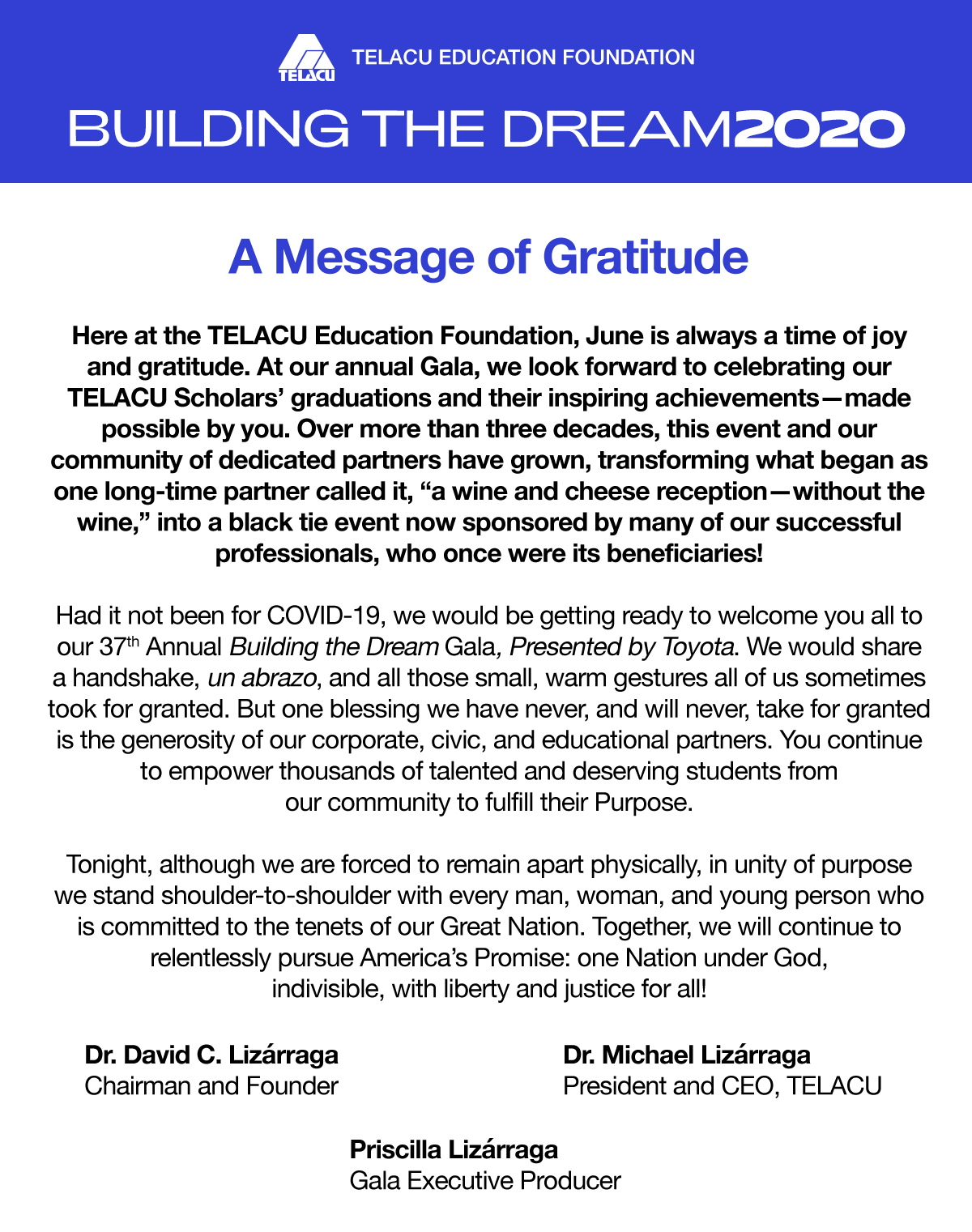 A message of Gratitude to our sponsors and partners