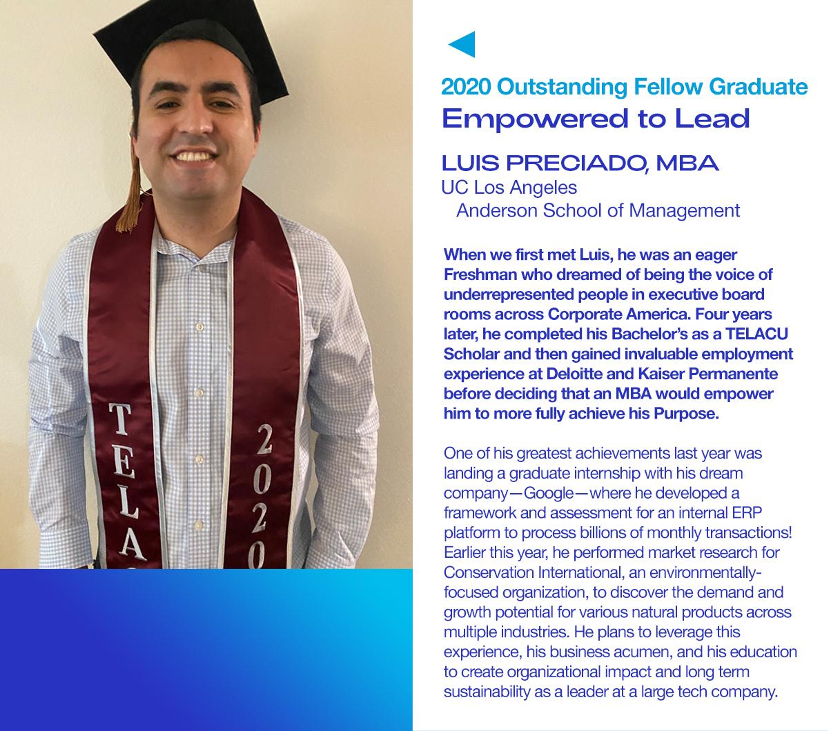 2020 Outstanding Fellow Graduate Luis Preciado